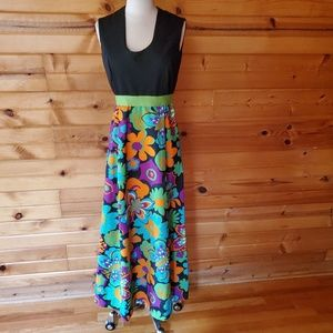 1970s Unlabeled Black Multi-Color Floral Poly Maxi